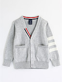 cheap Cocktail Dresses-Boys' Solid Stripe Blouse, Cotton Fall Long Sleeves Blue Red Gray Yellow