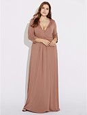 cheap Plus Size Dresses-Women's Plus Size Party Loose / Sheath Dress - Solid Colored Maxi Deep V