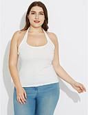 abordables Camisas y Camisetas para Mujer-Mujer Festivos Espalda al Aire Tank Tops, Halter Un Color / Verano / Otoño