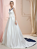 cheap Wedding Veils-A-Line / Princess V Neck Court Train Satin Made-To-Measure Wedding Dresses with Beading / Embroidery by LAN TING BRIDE®