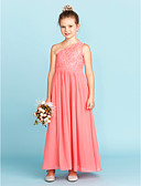 cheap Cocktail Dresses-A-Line / Princess One Shoulder Ankle Length Chiffon / Lace Junior Bridesmaid Dress with Sash / Ribbon / Pleats by LAN TING BRIDE® / Wedding Party
