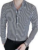 billige Herreskjorter-Bomull / Polyester Tynn Skjorte Herre - Stripet Forretning / Fritid Daglig / Arbeid / Helg / Langermet