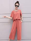 preiswerte Damen zweiteilige Anzüge-Damen Baumwolle Bluse - Solide V-Ausschnitt Hose