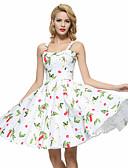 זול שמלות נשים-כתפיה עד הברך גב חשוף, פרחוני - שמלה נדן / סווינג כותנה מידות גדולות וינטאג' ליציאה בגדי ריקוד נשים