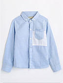 cheap Boys' Clothing-Boys' Solid Shirt, Cotton Fall Long Sleeves Blue