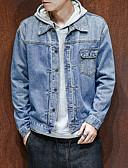 cheap Men's Sweaters & Cardigans-Men's Street chic Plus Size Denim Jacket - Solid Colored Shirt Collar
