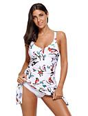 رخيصةأون لانجيري للنساء-أبيض زهري ملابس السباحة قعطة واحدة طباعة نساء