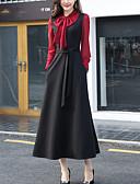 baratos Vestidos de Mulher-Mulheres Tamanhos Grandes Para Noite Moda de Rua Luva Lantern Algodão / Poliéster balanço Vestido - Laço, Retalhos Cintura Alta Longo