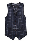 cheap Men's Blazers & Suits-Men's Plus Size Cotton Slim Vest - Plaid