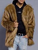 cheap Men's Jackets & Coats-Men's Plus Size Faux Fur Fur Coat - Solid Colored / Long Sleeve