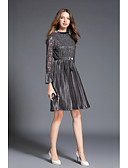 cheap Women's Dresses-Women's Daily Chinoiserie A Line Dress - Solid Colored / Striped Stand Spring Gray L XL XXL