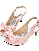 cheap Wedding Dresses-Women's Shoes PU(Polyurethane) Summer / Fall Comfort / Novelty Sandals Stiletto Heel Peep Toe Bowknot / Buckle Red / Blue / Pink
