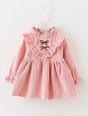 cheap Girls' Dresses-Girl's Daily Back to School Holiday Dress, Cotton Winter Fall Long Sleeves Bow Blushing Pink Purple