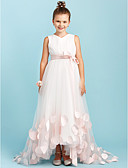 cheap Junior Bridesmaid Dresses-A-Line / Princess V Neck Sweep / Brush Train Satin / Tulle Junior Bridesmaid Dress with Bow(s) / Sashes / Ribbons by LAN TING BRIDE® / Wedding Party