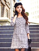 cheap Women's Two Piece Sets-DABUWAWA Women's Work Vintage Cute A Line Dress - Color Block