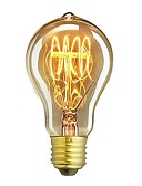 billige Blomsterpikekjoler-1pc 60W E26/E27 A60(A19) Varm hvit 2200-2700 K Kontor / Bedrift Mulighet for demping Dekorativ Glødende Vintage Edison lyspære 220V-240V