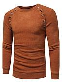 tanie Męskie swetry i swetry rozpinane-Męskie Rozmiar plus Okrągły dekolt Pulower Jendolity kolor Długi rękaw