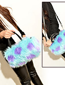cheap Women's Dresses-Women's Bags Fur Shoulder Bag Feathers / Fur Black / Red / Brown