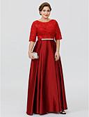 olcso Örömanya ruhák-A-vonalú Hercegnő Ékszer Földig érő Csipke szaténon Örömanya ruha val vel Pántlika / szalag által LAN TING BRIDE®