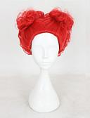 hesapli Çiçekçi Kız Elbiseleri-Sentetik Peruklar / Kostüm Perukları Dalgalı Sentetik Saç Orta Bölüm Kırmızı Peruk Kadın's Şort Bonesiz