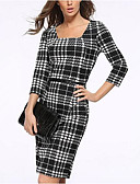 cheap Women's Dresses-Women's Going out Bodycon Dress - Check Square Neck / Slim