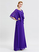 cheap Mother of the Bride Dresses-Sheath / Column Scoop Neck Floor Length Chiffon Mother of the Bride Dress with Crystal Detailing Ruffles by LAN TING BRIDE®