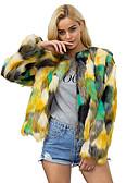 cheap Women's Leather & Faux Leather Jackets-Women's Daily / Work Fall / Winter Plus Size Regular Fur Coat, Color Block Round Neck Long Sleeve Rabbit Fur / Raccoon Fur Rainbow XL / XXL / XXXL