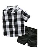 olcso Bébi Fiúknak ruházat-Baba Fiú Fekete-fehér kockás Rács Rövid ujjú Pamut Ruházat szett