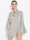 baratos Camisas Femininas-Mulheres Camiseta Vintage Sólido Poliéster Elastano Gola Alta Manga Alargamento