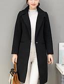 cheap Women's Coats & Trench Coats-Women's Wool Coat - Solid Colored Shirt Collar
