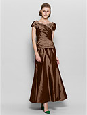 cheap Mother of the Bride Dresses-A-Line V Neck Ankle Length Taffeta Mother of the Bride Dress with Beading / Side Draping by LAN TING BRIDE®