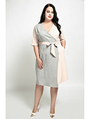 cheap Women's Dresses-Women's Plus Size Street chic Cotton Sheath Dress - Color Block V Neck