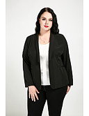 cheap Women's Tops-Women's Street chic Plus Size Cotton Blazer - Solid Colored