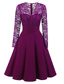 cheap Romantic Lace Dresses-Women's Sheath / Swing Dress - Solid Colored V Neck
