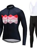 cheap Men's Hoodies & Sweatshirts-FUALRNY® Men's Long Sleeve Cycling Jersey with Bib Tights - Pink Bike Clothing Suits Fleece