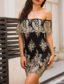 cheap Women's Dresses-Women's Club Bodycon Dress - Patchwork Embroidered Mini Off Shoulder / Summer / Fall / Lace / Skinny