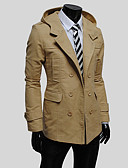 cheap Men's Jackets & Coats-Men's Long Cotton Trench Coat - Solid Colored Hooded