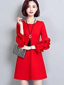 baratos Vestidos Femininos-Mulheres Para Noite Sofisticado Evasê Vestido - Frufru, Sólido Acima do Joelho / Outono / Inverno / Babados & Frufrus