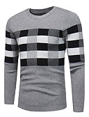 cheap Men's Shirts-Men's Plus Size Long Sleeve Pullover - Plaid Round Neck
