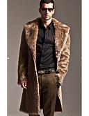 お買い得  メンズジャケット&コート-男性用 ロング コート - ストリートファッション ソリッド, フェイクファー