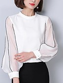 baratos Camisas Femininas-Mulheres Camisa Social Com Miçangas Bordado, Sólido Gola Redonda