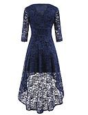 cheap Romantic Lace Dresses-Women's Sheath / Swing Dress - Solid Colored Black V Neck