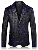 cheap Men's Blazers & Suits-Men's Daily / Going out Active Fall / Winter Regular Blazer, Color Block Notch Lapel Long Sleeve Cotton / Polyester Print Blue XXL / XXXL / 4XL
