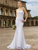 cheap Wedding Dresses-Mermaid / Trumpet Sweetheart Neckline Sweep / Brush Train Lace Made-To-Measure Wedding Dresses with Appliques by LAN TING BRIDE® / Open Back