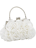 cheap Fashion Scarves-Women's Bags Satin Evening Bag Flower Black / Red / Silver / Wedding Bags
