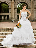 cheap Plus Size Wedding Dresses-Ball Gown Strapless Chapel Train Organza Made-To-Measure Wedding Dresses with Embroidery / Pick Up Skirt by LAN TING BRIDE® / Open Back
