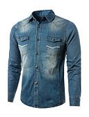 cheap Men's Hoodies & Sweatshirts-Men's Denim Jacket - Solid Colored Shirt Collar / Long Sleeve