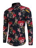 abordables Sudaderas de Hombre-Hombre Activo / Tejido Oriental Fiesta / Discoteca Floral Camisa, Cuello Mao Floral / Manga Larga