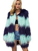 cheap Women's Blazers & Jackets-Women's Work Long Plus Size Fur Coat - Striped / Color Block