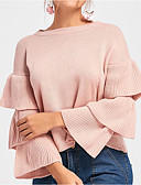 cheap Women's Sweaters-Women's Long Sleeve Pullover - Solid Colored / Fall / Flare Sleeve